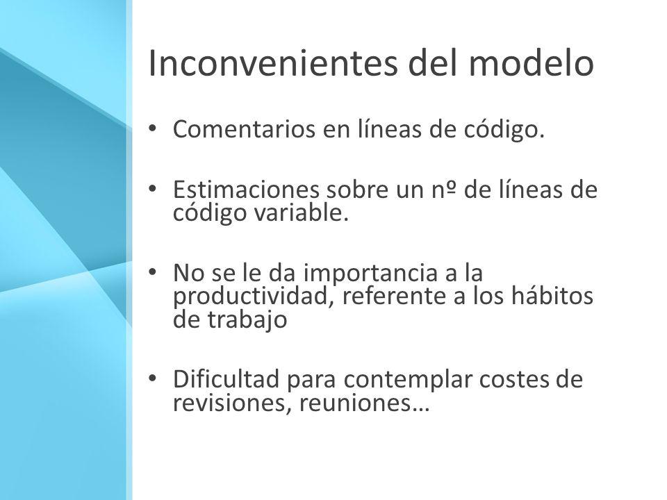 Inconvenientes del modelo Comentarios en líneas de código. Estimaciones sobre un nº de líneas de código variable. No se le da importancia a la product