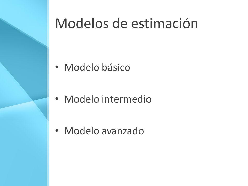 Modelos de estimación Modelo básico Modelo intermedio Modelo avanzado