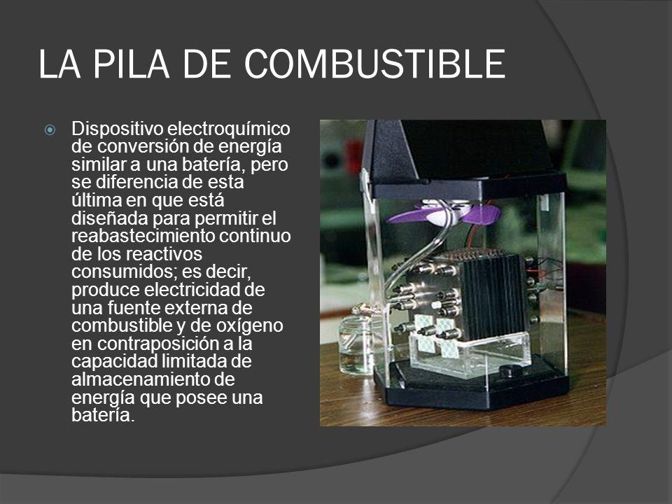 LA PILA DE COMBUSTIBLE Dispositivo electroquímico de conversión de energía similar a una batería, pero se diferencia de esta última en que está diseña