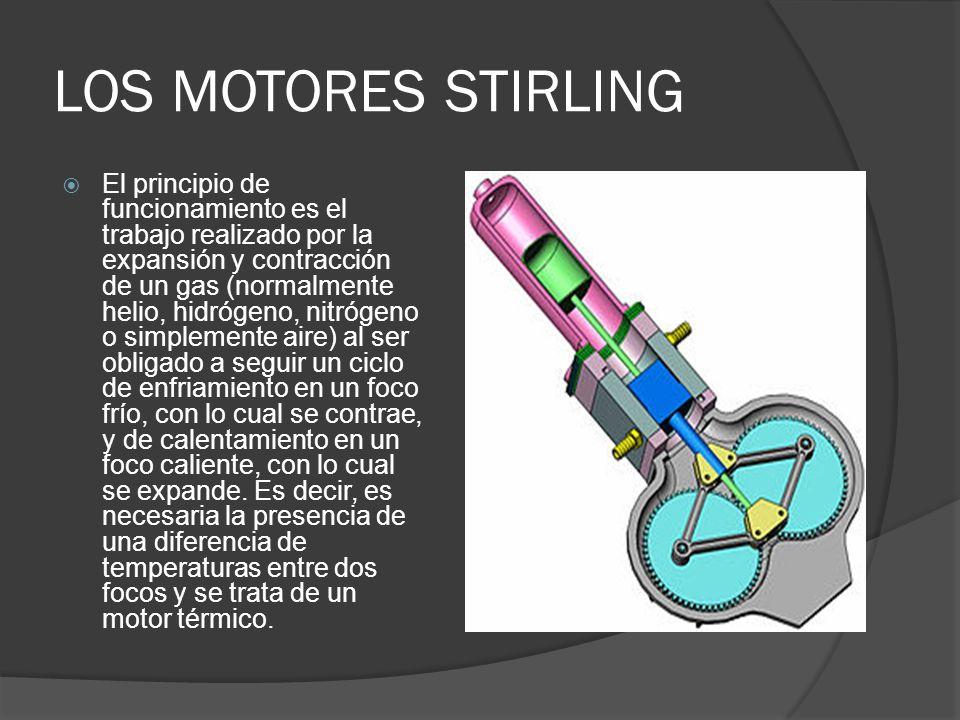 LOS MOTORES STIRLING El principio de funcionamiento es el trabajo realizado por la expansión y contracción de un gas (normalmente helio, hidrógeno, ni