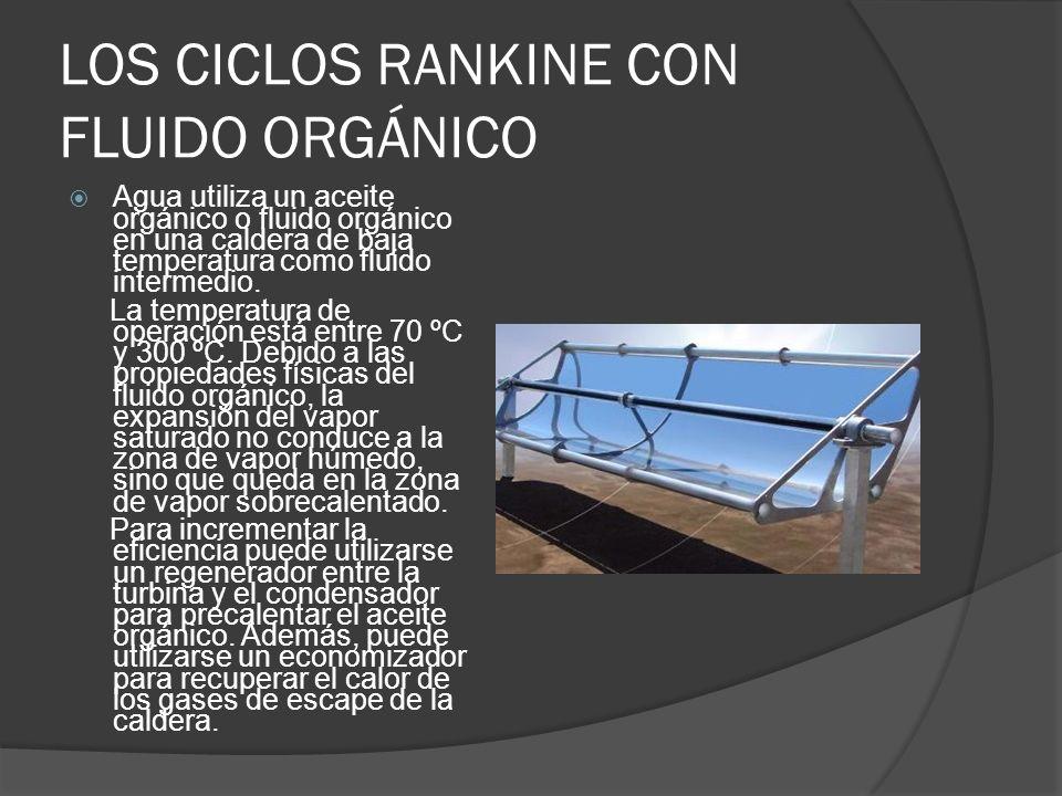 LOS CICLOS RANKINE CON FLUIDO ORGÁNICO Agua utiliza un aceite orgánico o fluido orgánico en una caldera de baja temperatura como fluido intermedio. La