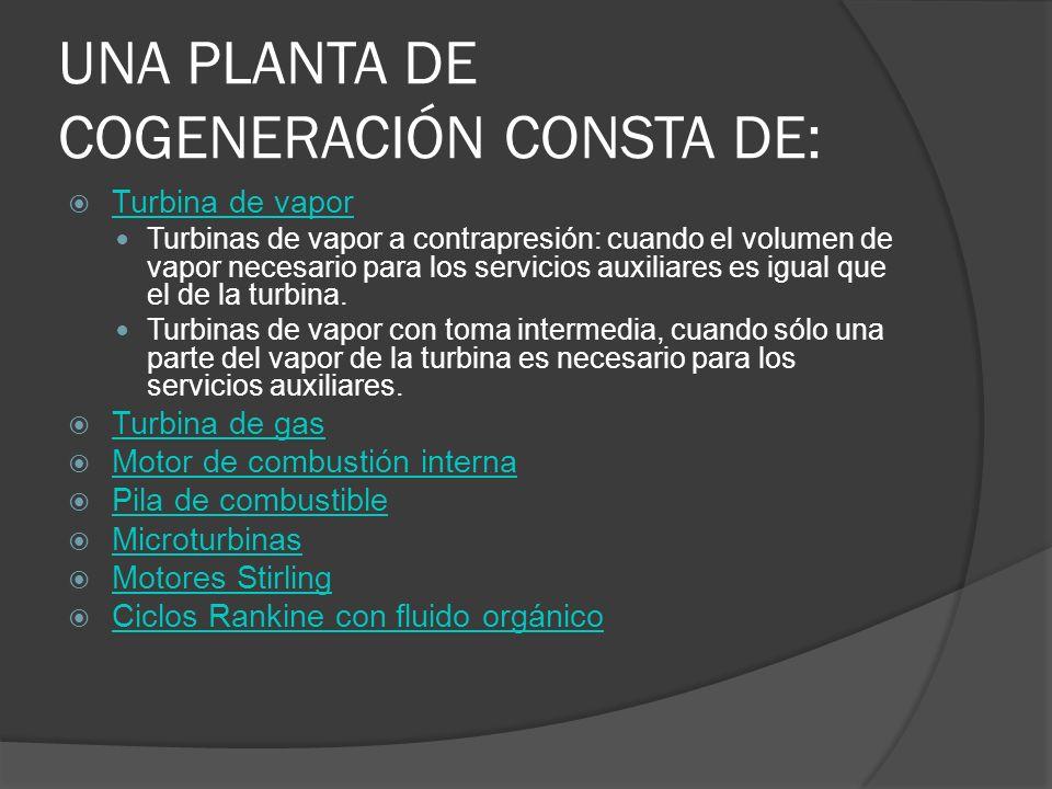 UNA PLANTA DE COGENERACIÓN CONSTA DE: Turbina de vapor Turbinas de vapor a contrapresión: cuando el volumen de vapor necesario para los servicios auxi