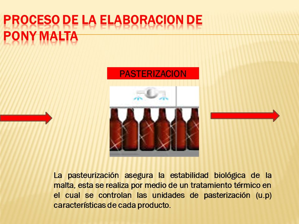 La pasteurización asegura la estabilidad biológica de la malta, esta se realiza por medio de un tratamiento térmico en el cual se controlan las unidad