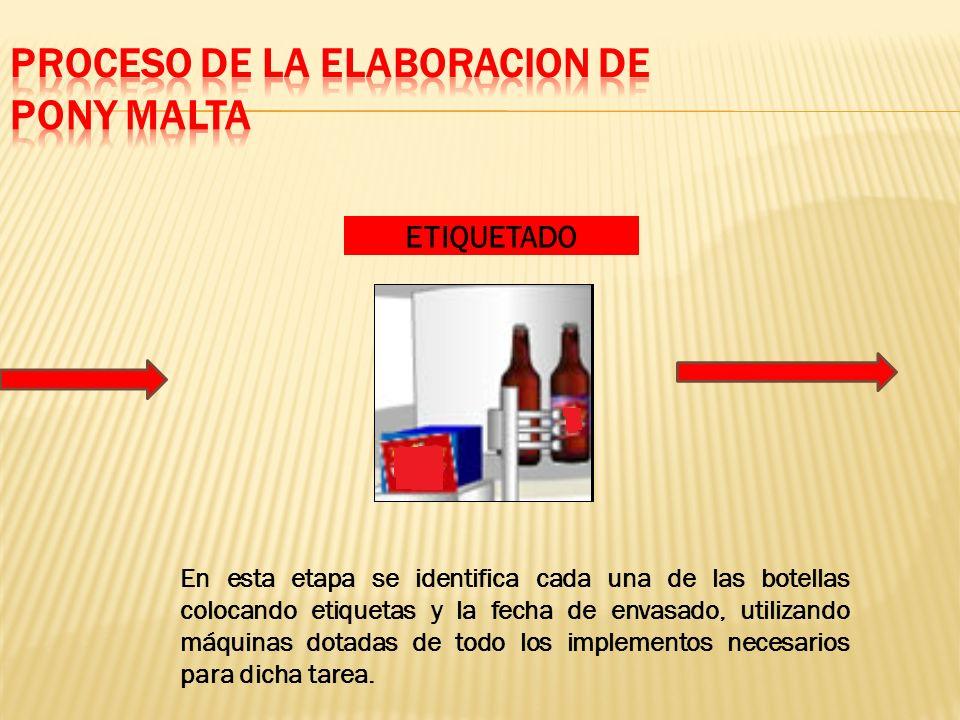 En esta etapa se identifica cada una de las botellas colocando etiquetas y la fecha de envasado, utilizando máquinas dotadas de todo los implementos necesarios para dicha tarea.