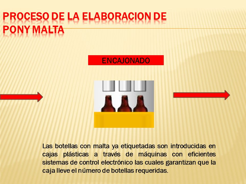 ENCAJONADO Las botellas con malta ya etiquetadas son introducidas en cajas plásticas a través de máquinas con eficientes sistemas de control electrónico las cuales garantizan que la caja lleve el número de botellas requeridas.