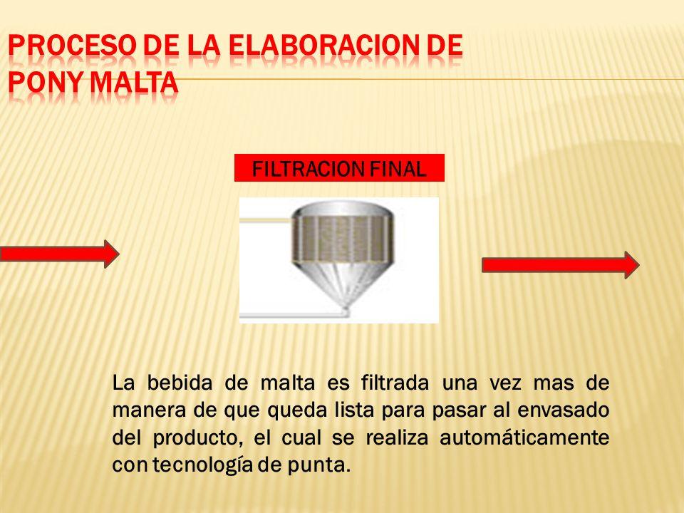 FILTRACION FINAL La bebida de malta es filtrada una vez mas de manera de que queda lista para pasar al envasado del producto, el cual se realiza automáticamente con tecnología de punta.