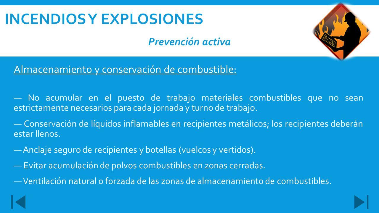 Almacenamiento y conservación de combustible: No acumular en el puesto de trabajo materiales combustibles que no sean estrictamente necesarios para ca