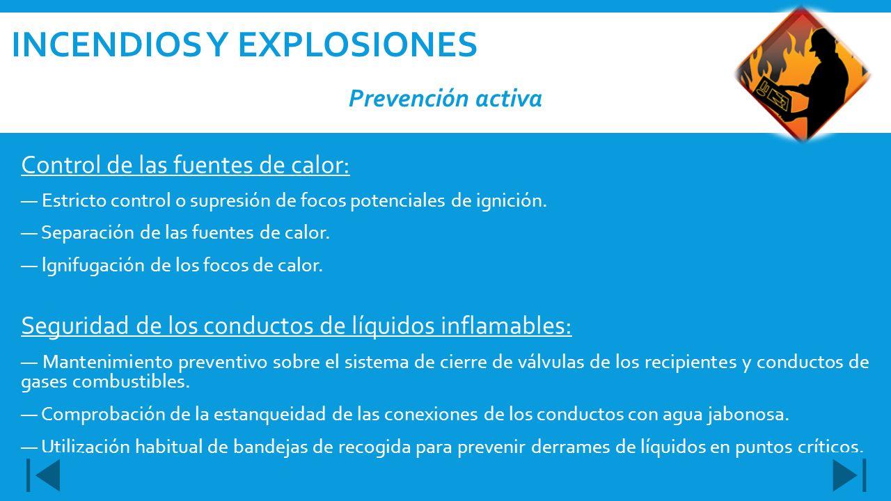 Control de las fuentes de calor: Estricto control o supresión de focos potenciales de ignición. Separación de las fuentes de calor. lgnifugación de lo