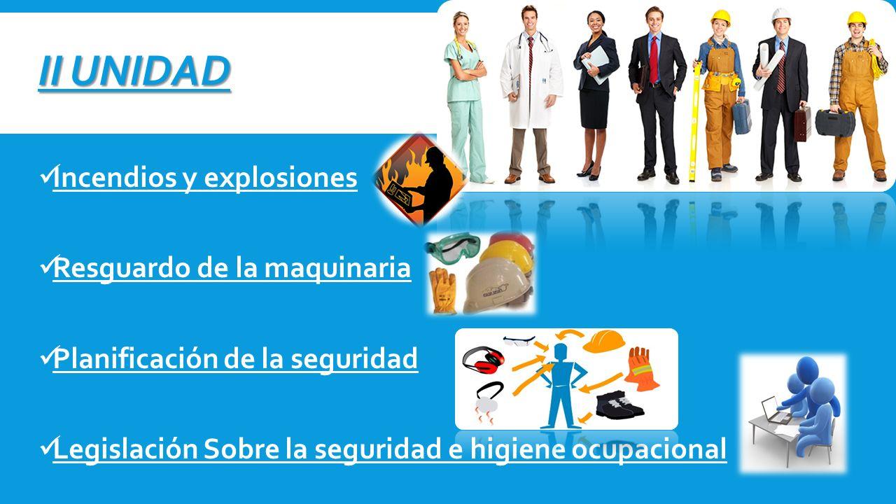 II UNIDAD Incendios y explosiones Resguardo de la maquinaria Planificación de la seguridad Legislación Sobre la seguridad e higiene ocupacional