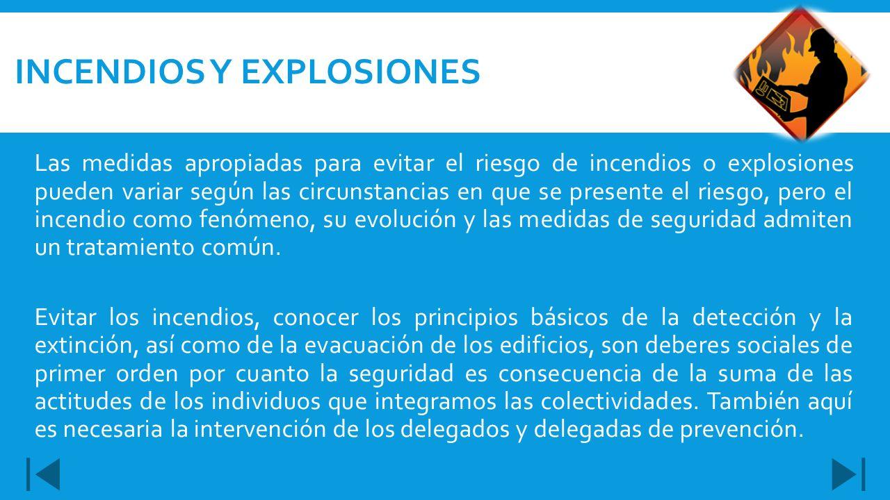 Las medidas apropiadas para evitar el riesgo de incendios o explosiones pueden variar según las circunstancias en que se presente el riesgo, pero el i