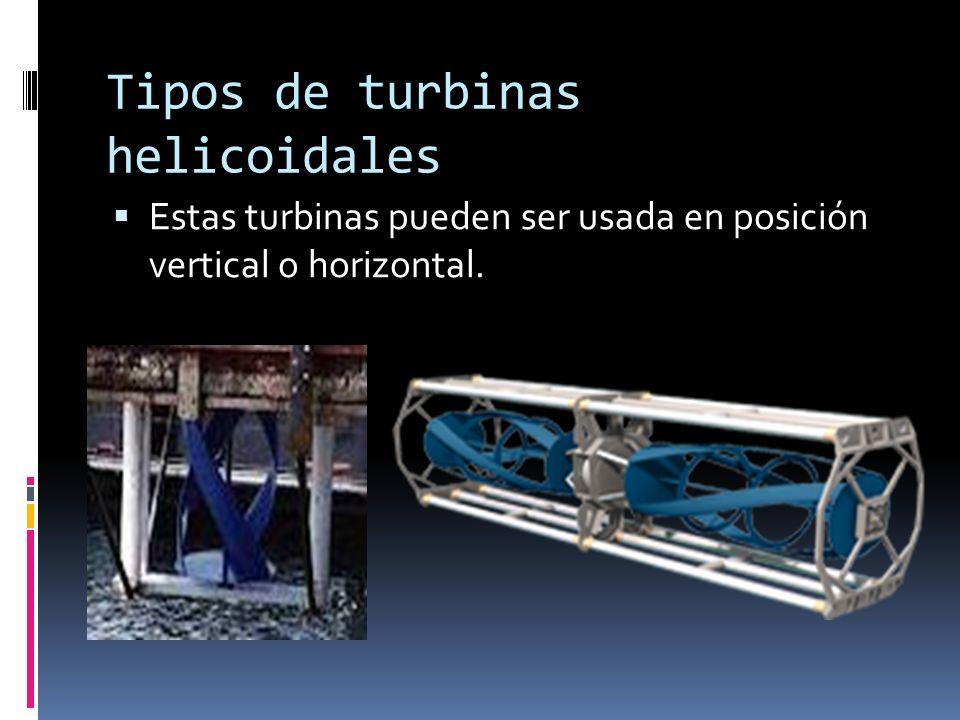 Tipos de turbinas helicoidales Estas turbinas pueden ser usada en posición vertical o horizontal.
