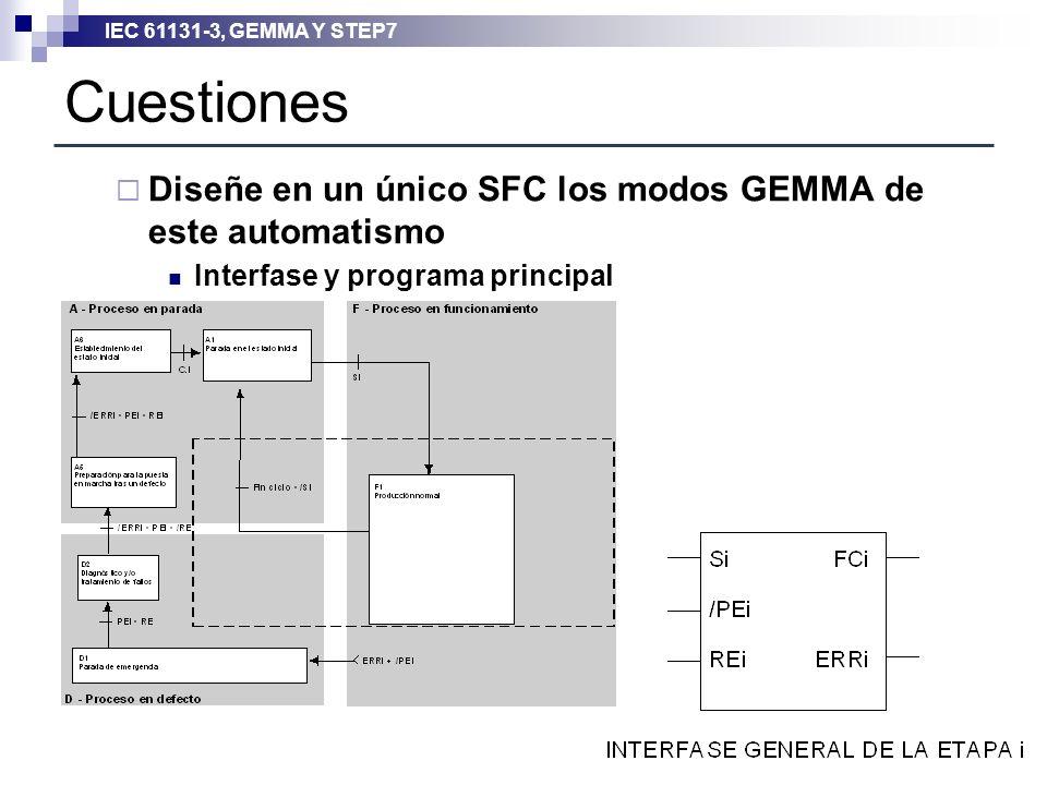 IEC 61131-3, GEMMA Y STEP7 Cuestiones Diseñe en un único SFC los modos GEMMA de este automatismo Interfase y programa principal