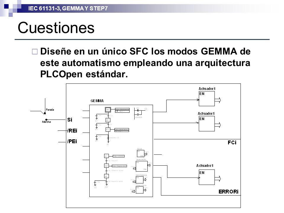 IEC 61131-3, GEMMA Y STEP7 Cuestiones Diseñe en un único SFC los modos GEMMA de este automatismo empleando una arquitectura PLCOpen estándar.