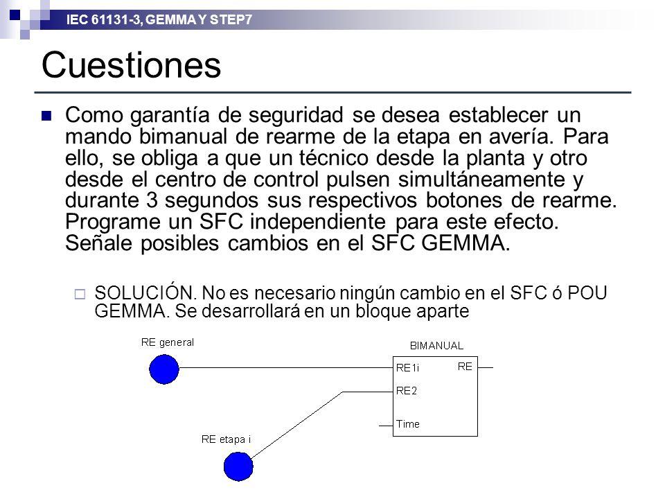 IEC 61131-3, GEMMA Y STEP7 Cuestiones Como garantía de seguridad se desea establecer un mando bimanual de rearme de la etapa en avería. Para ello, se