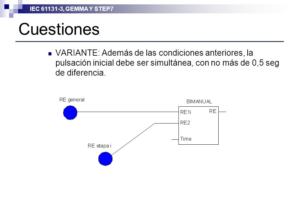 IEC 61131-3, GEMMA Y STEP7 Cuestiones VARIANTE: Además de las condiciones anteriores, la pulsación inicial debe ser simultánea, con no más de 0,5 seg
