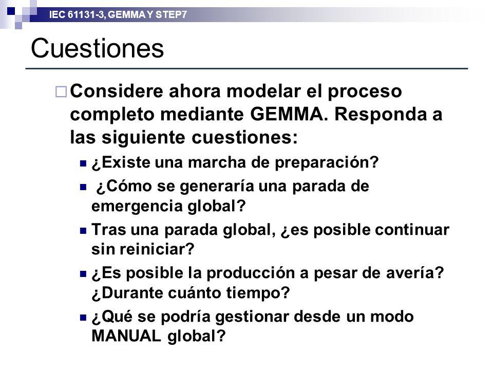 IEC 61131-3, GEMMA Y STEP7 Cuestiones Considere ahora modelar el proceso completo mediante GEMMA. Responda a las siguiente cuestiones: ¿Existe una mar
