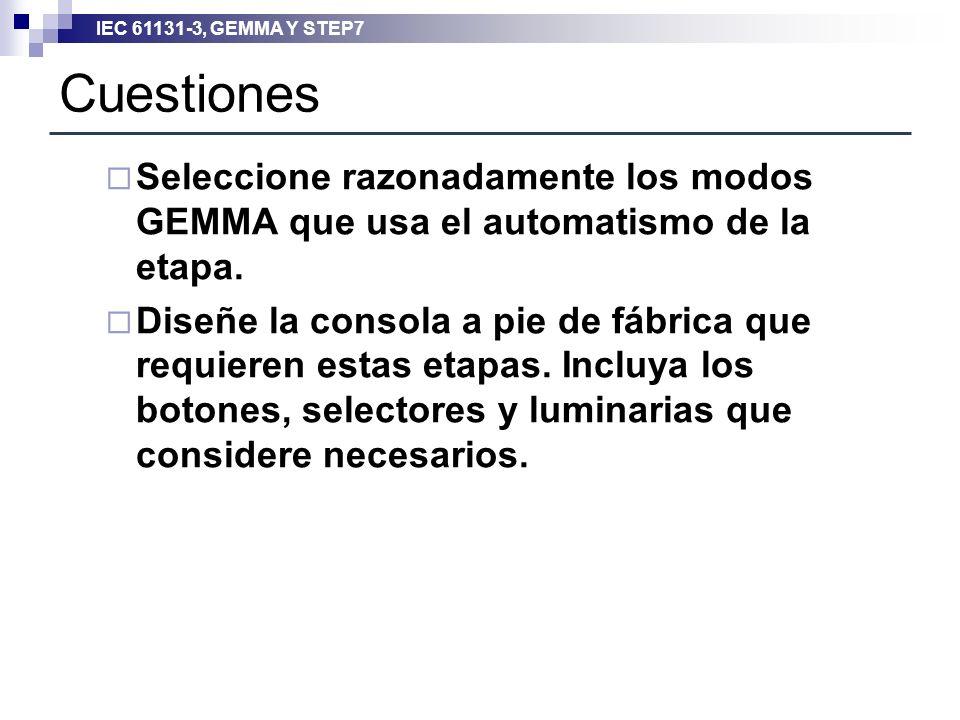 IEC 61131-3, GEMMA Y STEP7 Cuestiones Seleccione razonadamente los modos GEMMA que usa el automatismo de la etapa. Diseñe la consola a pie de fábrica