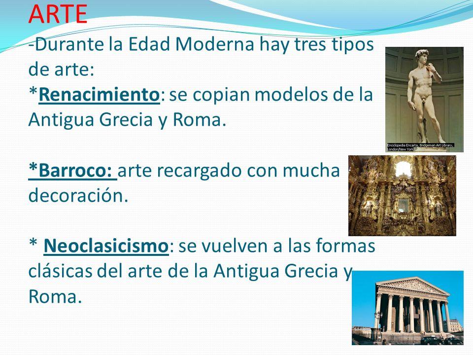 ARTE -Durante la Edad Moderna hay tres tipos de arte: *Renacimiento: se copian modelos de la Antigua Grecia y Roma. *Barroco: arte recargado con mucha