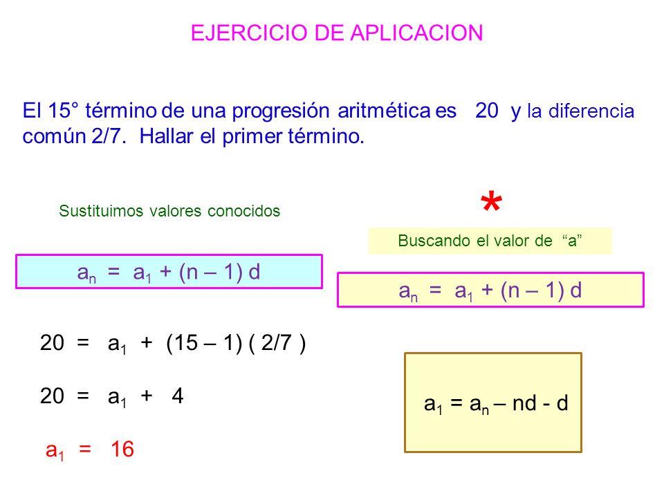 EJERCICIO DE APLICACION 20 = a 1 + (15 – 1) ( 2/7 ) 20 = a 1 + 4 a 1 = 16 Sustituimos valores conocidos a n = a 1 + (n – 1) d Buscando el valor de a a 1 = a n – nd - d * El 15° término de una progresión aritmética es 20 y la diferencia común 2/7.