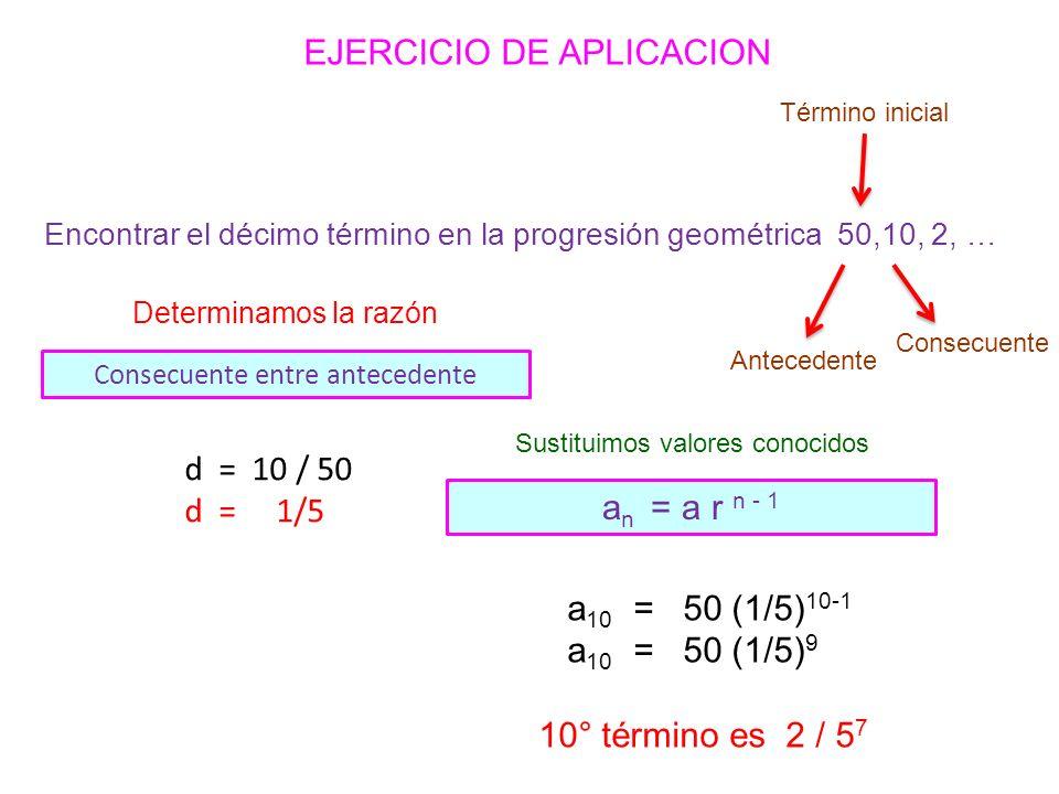 a 10 = 50 (1/5) 10-1 a 10 = 50 (1/5) 9 10° término es 2 / 5 7 d = 10 / 50 d = 1/5 Determinamos la razón Consecuente entre antecedente Antecedente Consecuente Término inicial Sustituimos valores conocidos a n = a r n - 1 EJERCICIO DE APLICACION Encontrar el décimo término en la progresión geométrica 50,10, 2, …