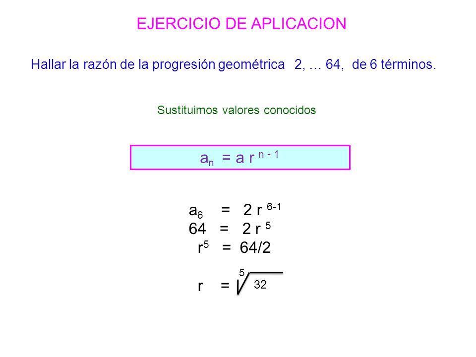 a n = a r n - 1 EJERCICIO DE APLICACION Sustituimos valores conocidos Hallar la razón de la progresión geométrica 2, … 64, de 6 términos.