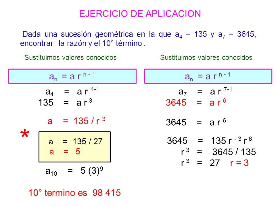 a n = a r n - 1 EJERCICIO DE APLICACION Sustituimos valores conocidos Dada una sucesión geométrica en la que a 4 = 135 y a 7 = 3645, encontrar la razón y el 10° término.