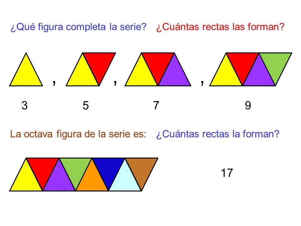,,, ¿Qué figura completa la serie?¿Cuántas rectas las forman.