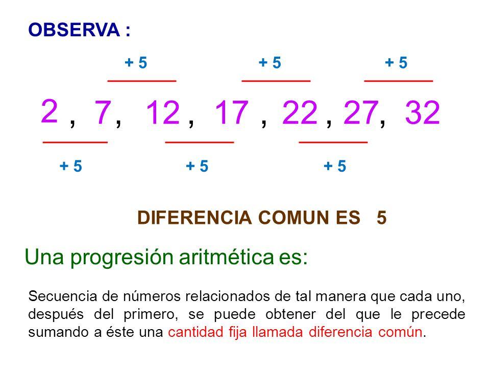Una progresión aritmética es: Secuencia de números relacionados de tal manera que cada uno, después del primero, se puede obtener del que le precede sumando a éste una cantidad fija llamada diferencia común.