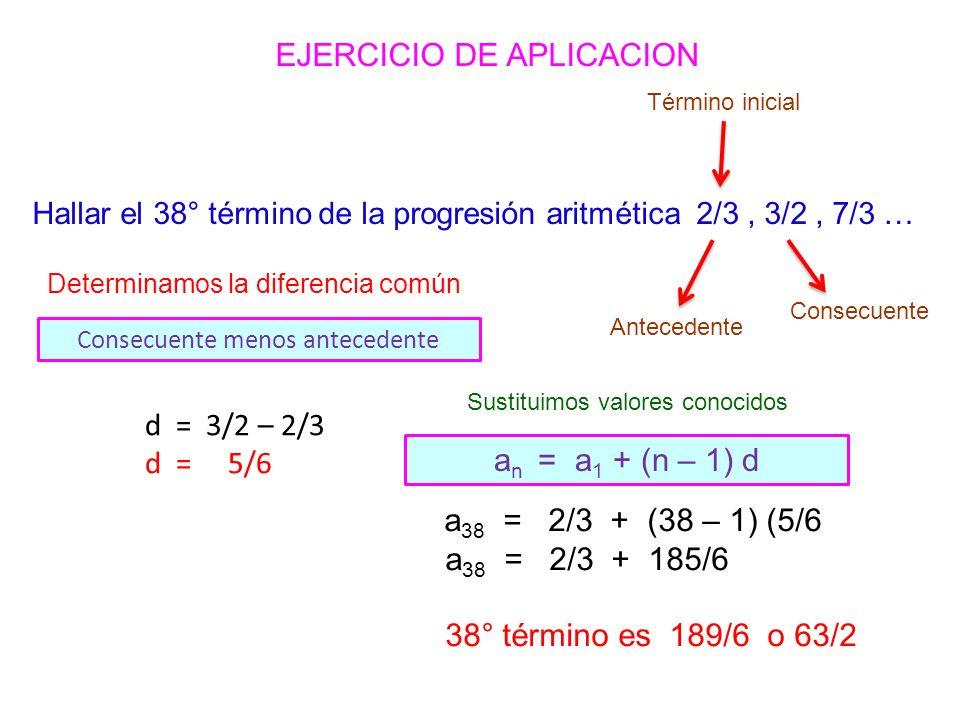 Hallar el 38° término de la progresión aritmética 2/3, 3/2, 7/3 … a 38 = 2/3 + (38 – 1) (5/6 a 38 = 2/3 + 185/6 38° término es 189/6 o 63/2 d = 3/2 – 2/3 d = 5/6 Determinamos la diferencia común Consecuente menos antecedente Antecedente Consecuente Término inicial Sustituimos valores conocidos a n = a 1 + (n – 1) d EJERCICIO DE APLICACION