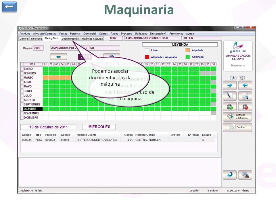 Utilidad para gestión de la maquinaria de la empresa Datos varios de la máquina: marca, modelo, nº de serie, fecha de compra, importe, costo por día o