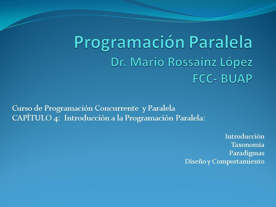 Curso de Programación Concurrente y Paralela CAPÍTULO 4: Introducción a la Programación Paralela: Introducción Taxonomía Paradigmas Diseño y Comportam