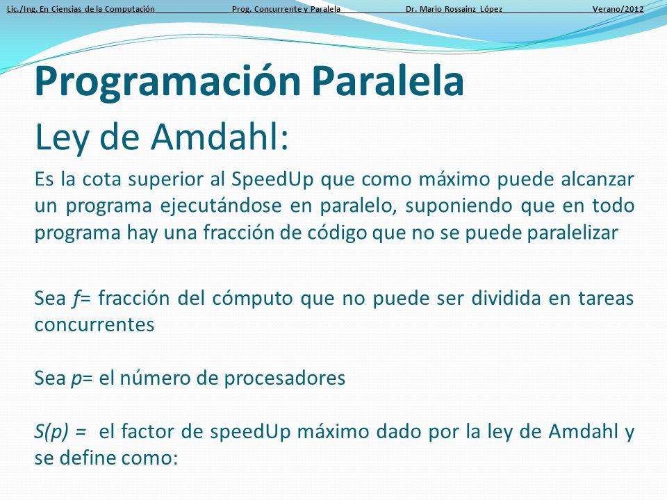 Lic./Ing. En Ciencias de la Computación Prog. Concurrente y Paralela Dr. Mario Rossainz López Verano/2012 Ley de Amdahl: Es la cota superior al SpeedU