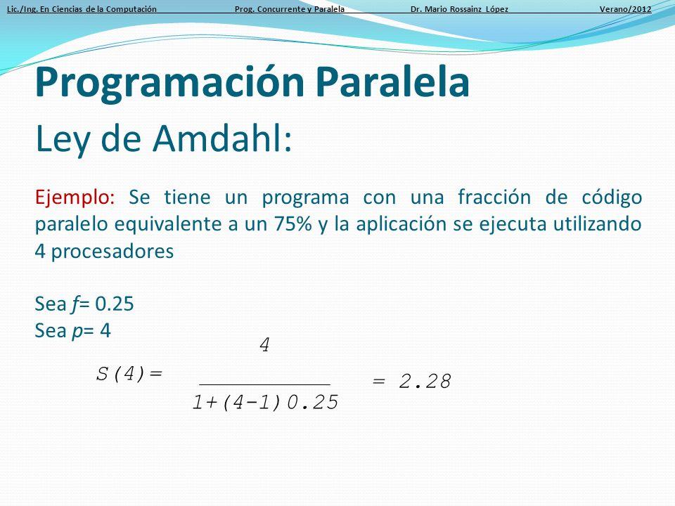 Lic./Ing. En Ciencias de la Computación Prog. Concurrente y Paralela Dr. Mario Rossainz López Verano/2012 Ley de Amdahl: Ejemplo: Se tiene un programa