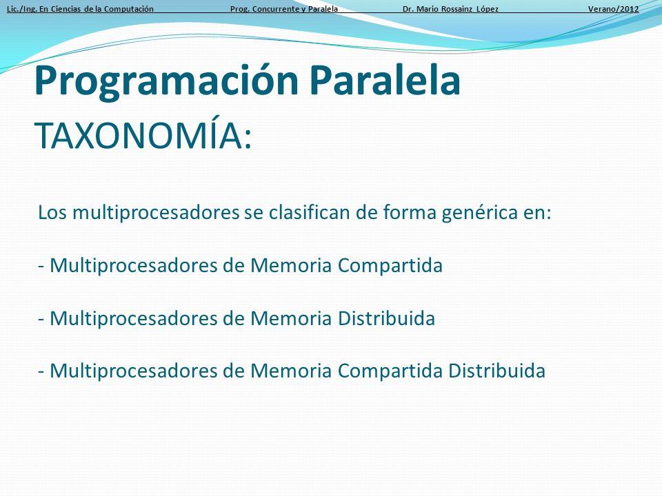Lic./Ing. En Ciencias de la Computación Prog. Concurrente y Paralela Dr. Mario Rossainz López Verano/2012 TAXONOMÍA: Los multiprocesadores se clasific