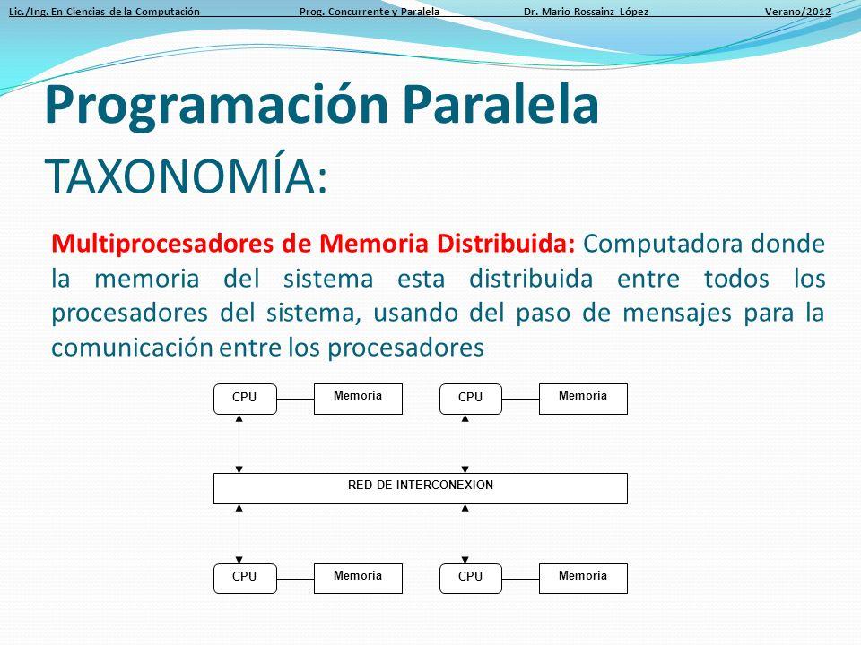 Lic./Ing. En Ciencias de la Computación Prog. Concurrente y Paralela Dr. Mario Rossainz López Verano/2012 CPU Memoria CPU Memoria RED DE INTERCONEXION