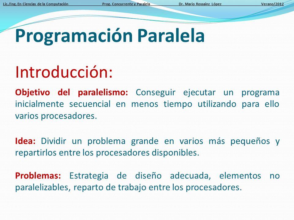 Lic./Ing. En Ciencias de la Computación Prog. Concurrente y Paralela Dr. Mario Rossainz López Verano/2012 Introducción: Objetivo del paralelismo: Cons