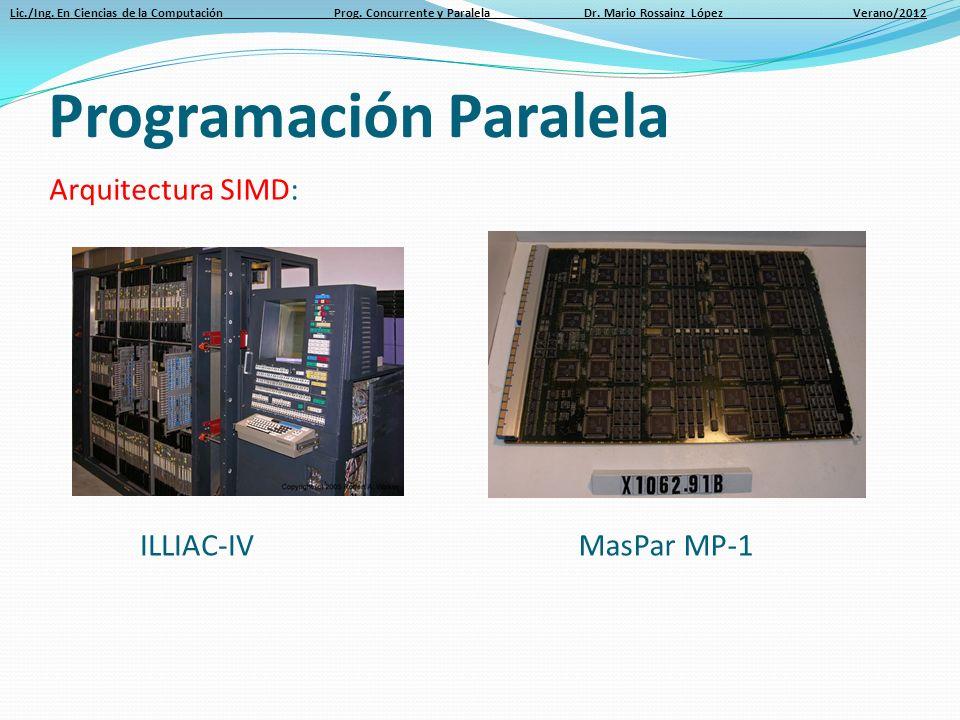 Lic./Ing. En Ciencias de la Computación Prog. Concurrente y Paralela Dr. Mario Rossainz López Verano/2012 Arquitectura SIMD: Programación Paralela Mas