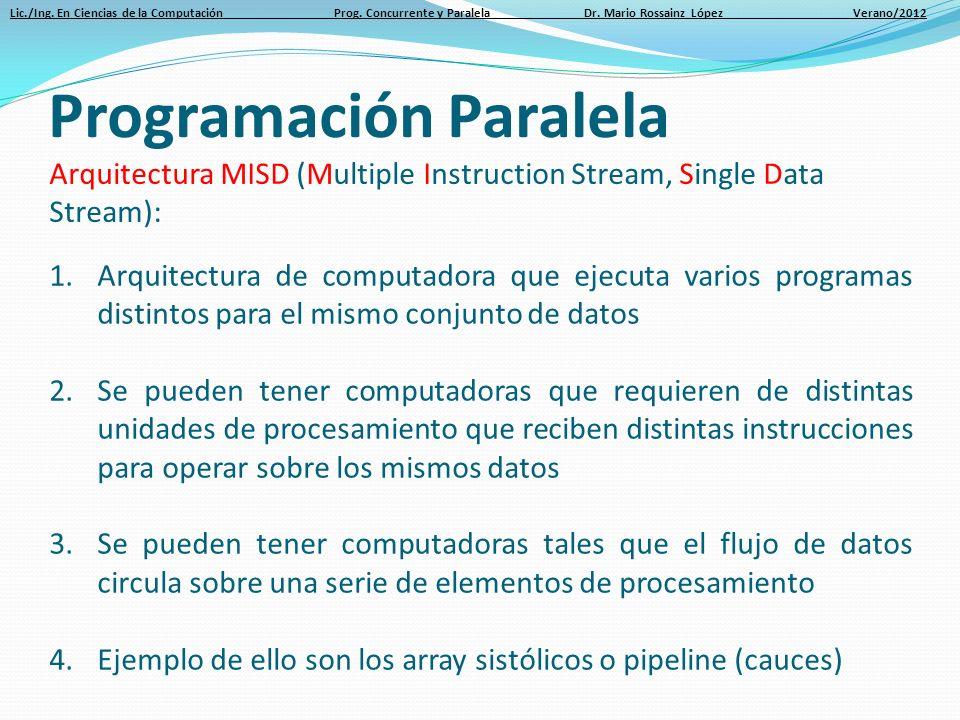Lic./Ing. En Ciencias de la Computación Prog. Concurrente y Paralela Dr. Mario Rossainz López Verano/2012 Arquitectura MISD (Multiple Instruction Stre