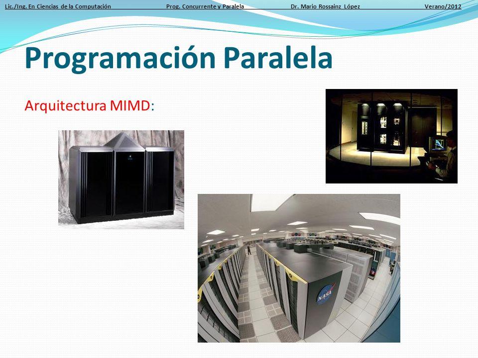 Lic./Ing. En Ciencias de la Computación Prog. Concurrente y Paralela Dr. Mario Rossainz López Verano/2012 Arquitectura MIMD: Programación Paralela