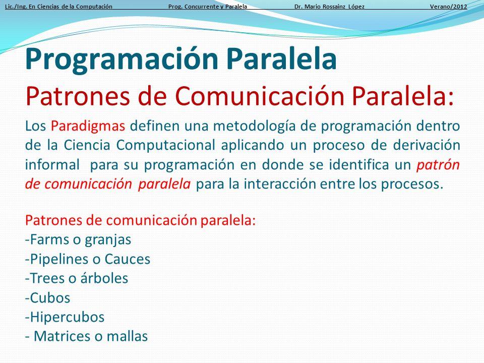 Lic./Ing. En Ciencias de la Computación Prog. Concurrente y Paralela Dr. Mario Rossainz López Verano/2012 Programación Paralela Patrones de Comunicaci