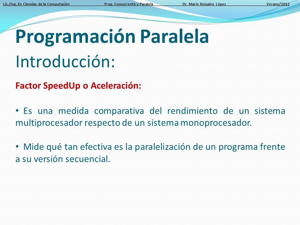 Lic./Ing. En Ciencias de la Computación Prog. Concurrente y Paralela Dr. Mario Rossainz López Verano/2012 Introducción: Factor SpeedUp o Aceleración: