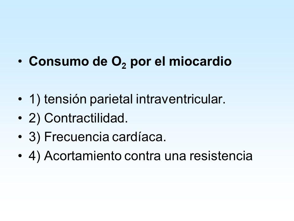 Consumo de O 2 por el miocardio 1) tensión parietal intraventricular.