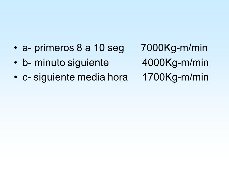 a- primeros 8 a 10 seg 7000Kg-m/min b- minuto siguiente 4000Kg-m/min c- siguiente media hora 1700Kg-m/min