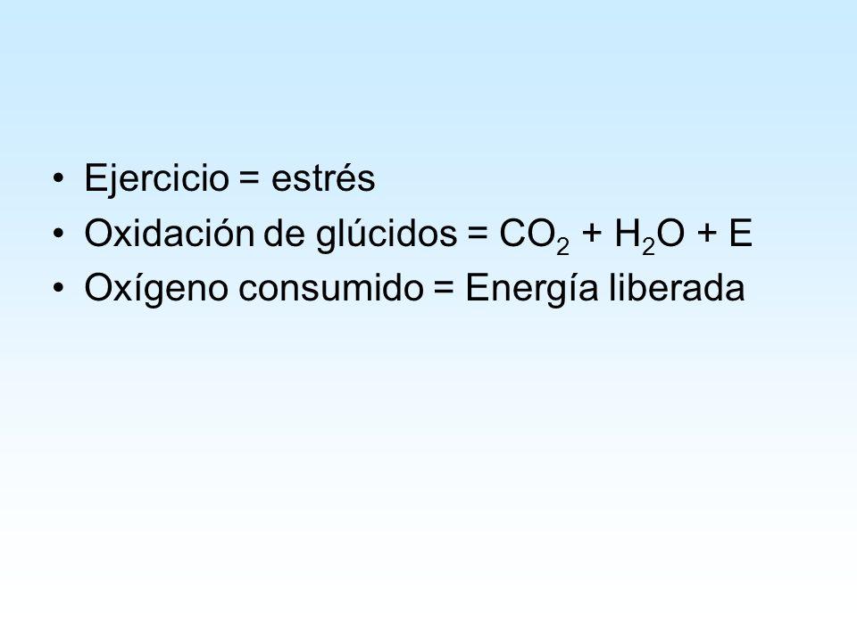 Ejercicio = estrés Oxidación de glúcidos = CO 2 + H 2 O + E Oxígeno consumido = Energía liberada