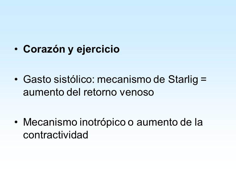 Corazón y ejercicio Gasto sistólico: mecanismo de Starlig = aumento del retorno venoso Mecanismo inotrópico o aumento de la contractividad