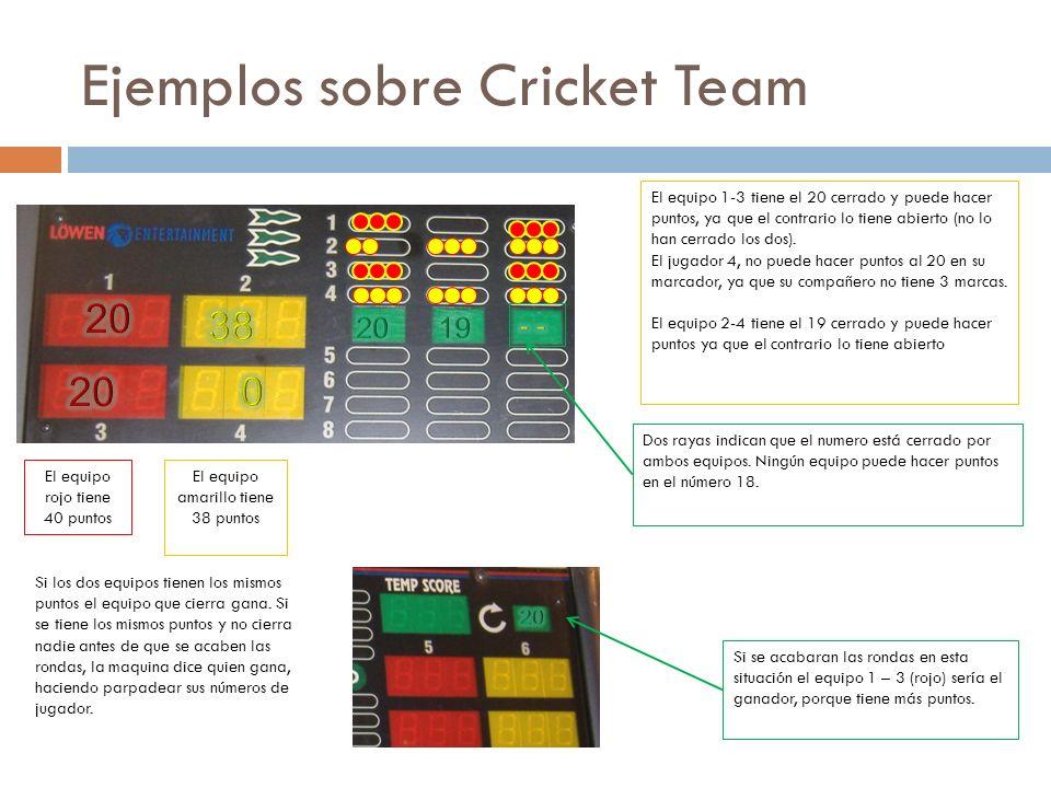 Ejemplos sobre Cricket Team El equipo 1-3 tiene el 20 cerrado y puede hacer puntos, ya que el contrario lo tiene abierto (no lo han cerrado los dos).