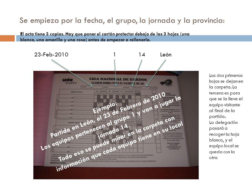 Se empieza por la fecha, el grupo, la jornada y la provincia: 23-Feb-2010114León Ejemplo: Partida en León, el 23 de Febrero de 2010 Los equipos perten