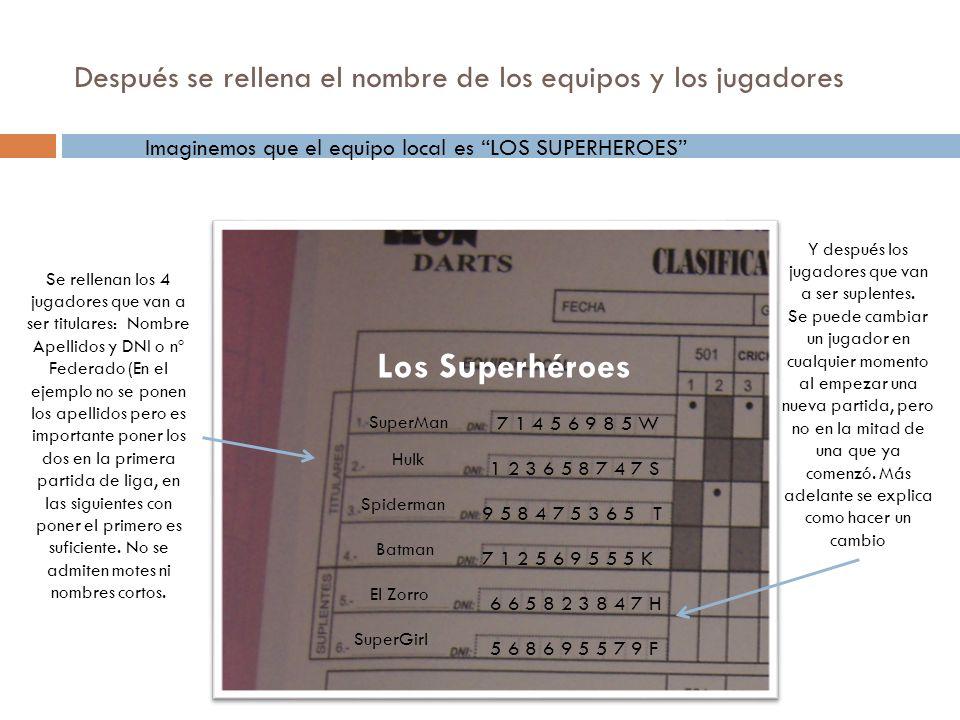 Después se rellena el nombre de los equipos y los jugadores Imaginemos que el equipo local es LOS SUPERHEROES Los Superhéroes Se rellenan los 4 jugado