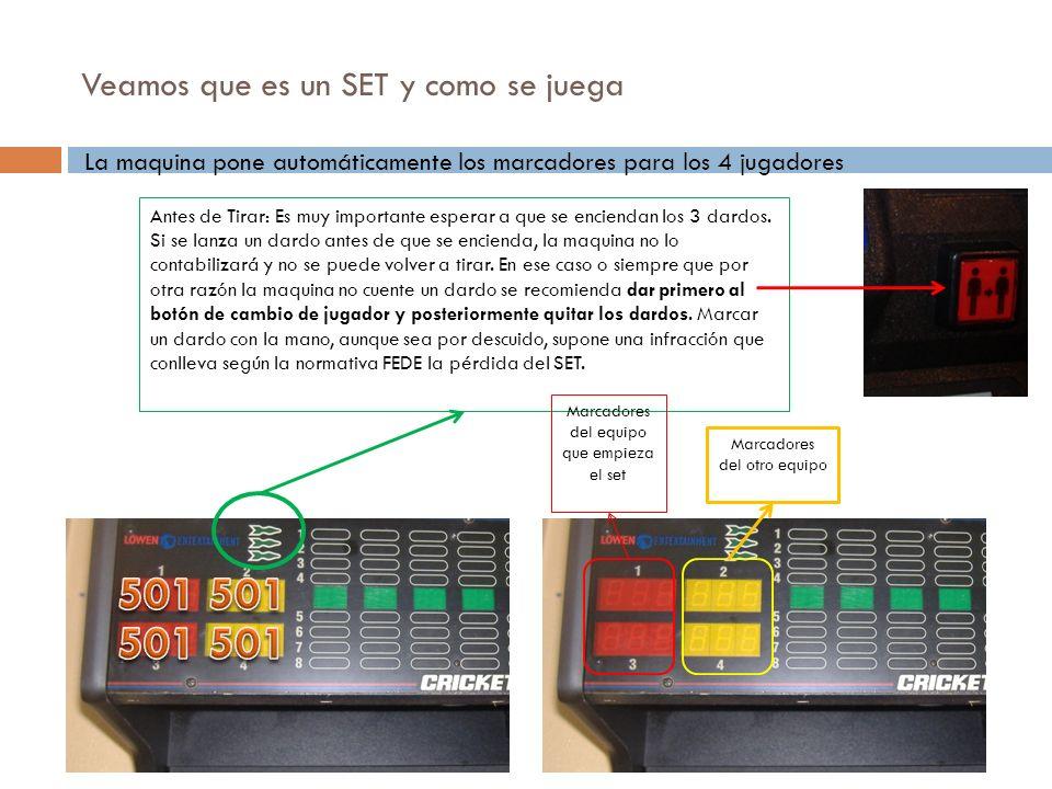 Veamos que es un SET y como se juega La maquina pone automáticamente los marcadores para los 4 jugadores Antes de Tirar: Es muy importante esperar a q