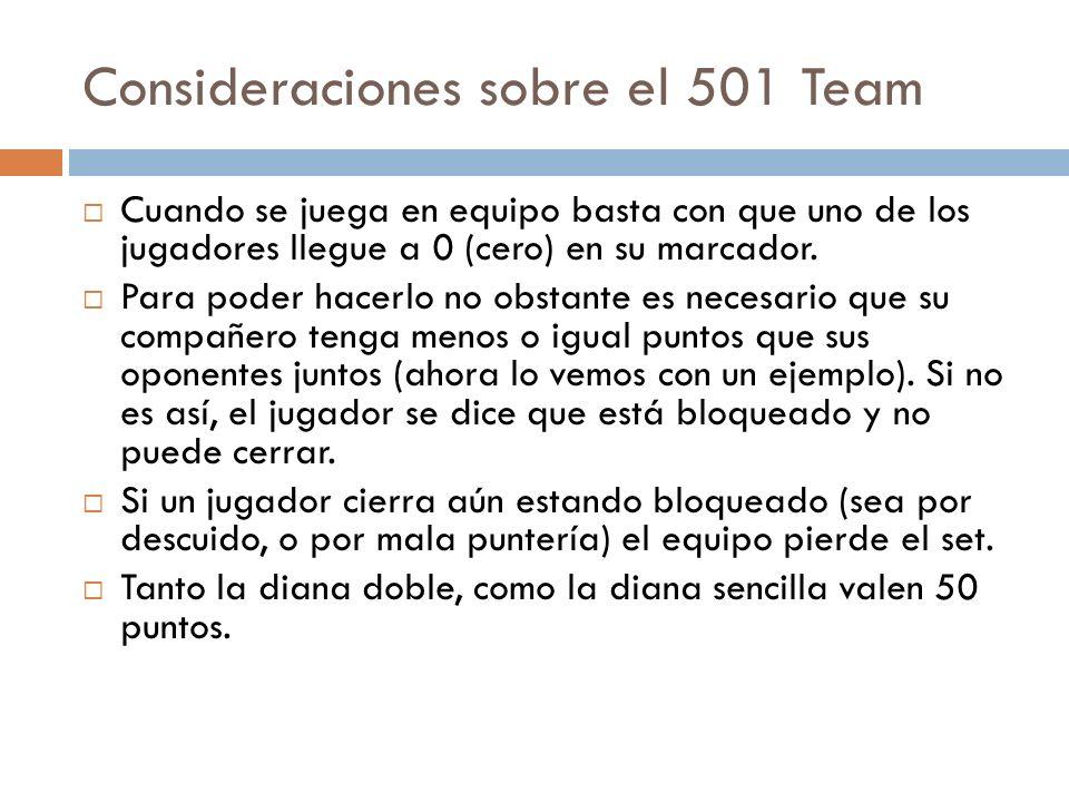 Consideraciones sobre el 501 Team Cuando se juega en equipo basta con que uno de los jugadores llegue a 0 (cero) en su marcador. Para poder hacerlo no